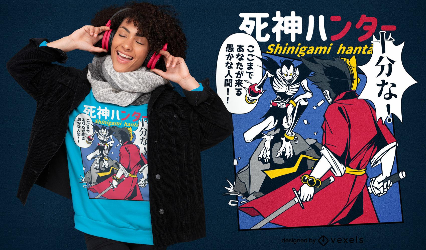 Design de camiseta em quadrinhos de monstros japoneses