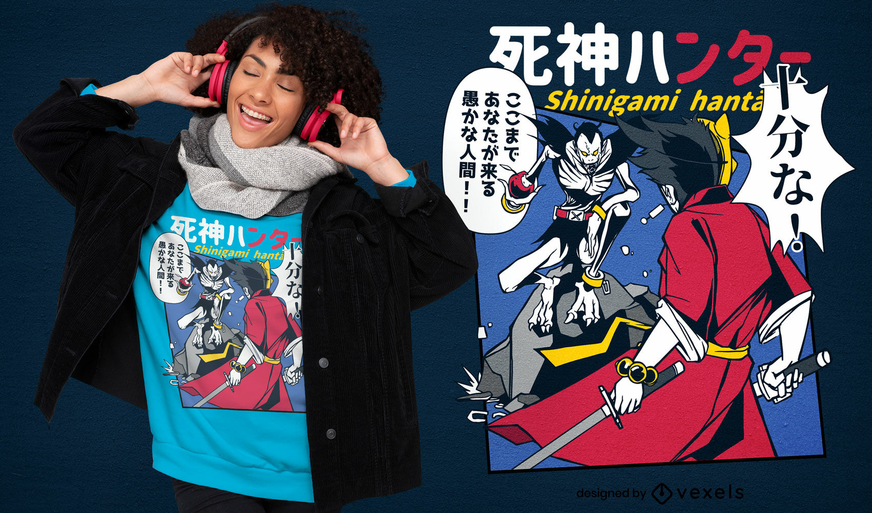 Diseño de camiseta de cómic monstruo japonés.