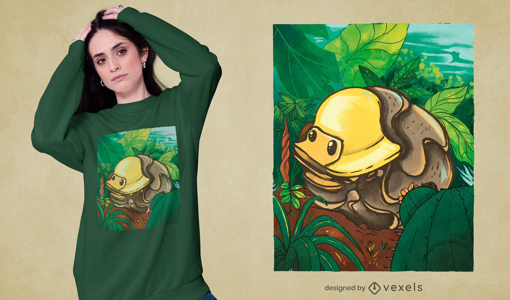 Camiseta animal naturaleza patito de goma psd