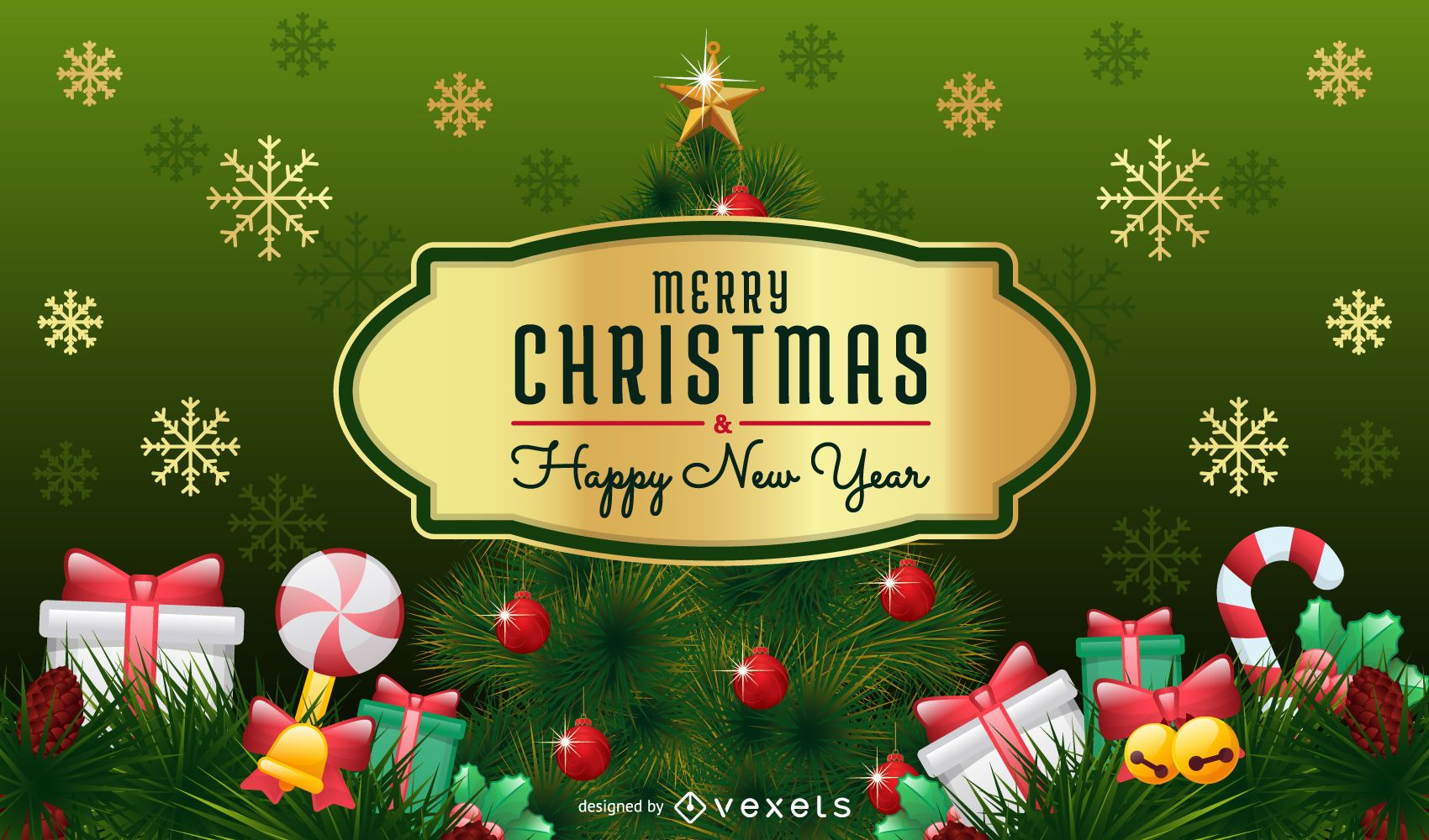 merry christmas card with christmas tree and badge vector download