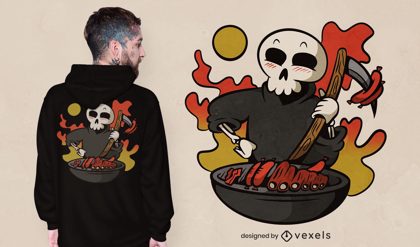 Grim reaper cooking grill t-shirt design