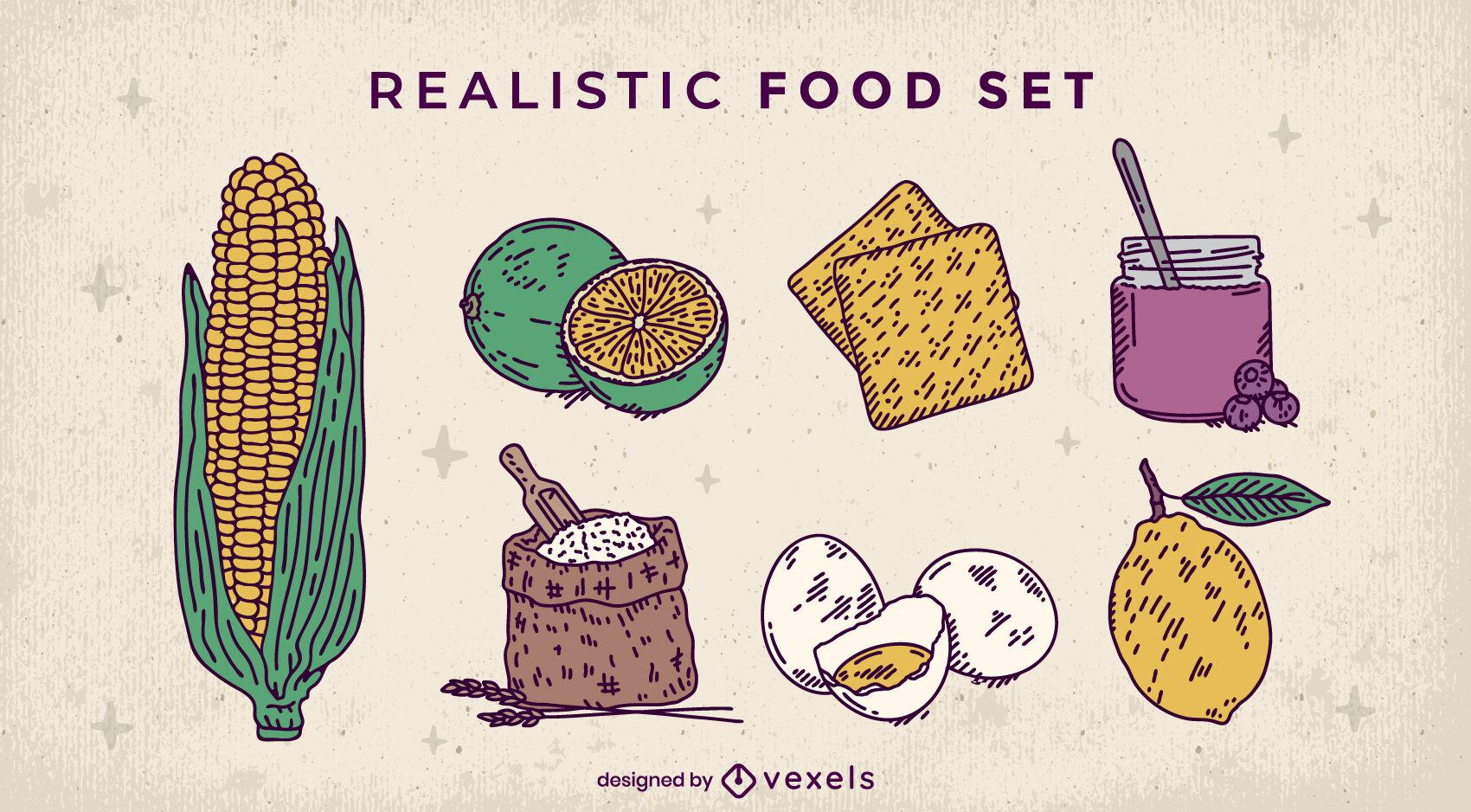 Conjunto detallado de ingredientes de elementos alimenticios