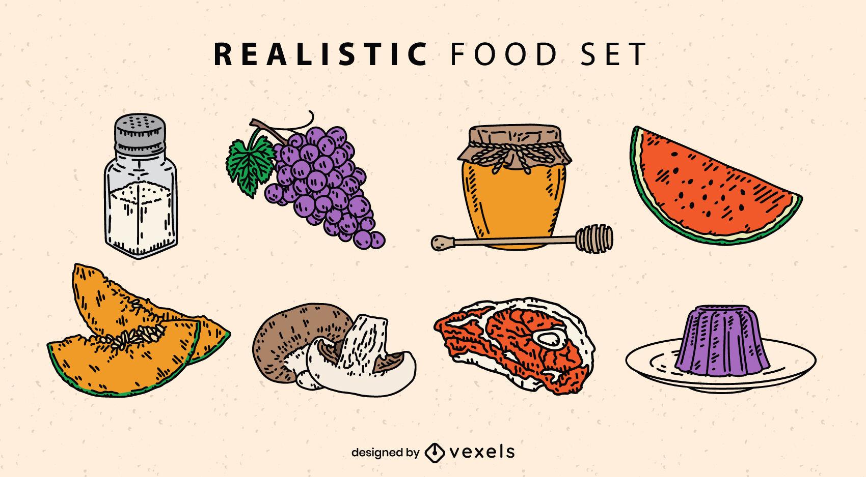 Conjunto detallado de ingredientes alimentarios