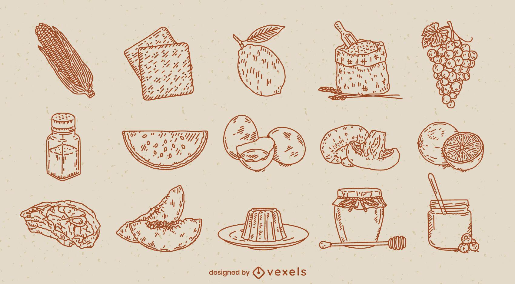 Conjunto de dibujado a mano de ingredientes alimentarios
