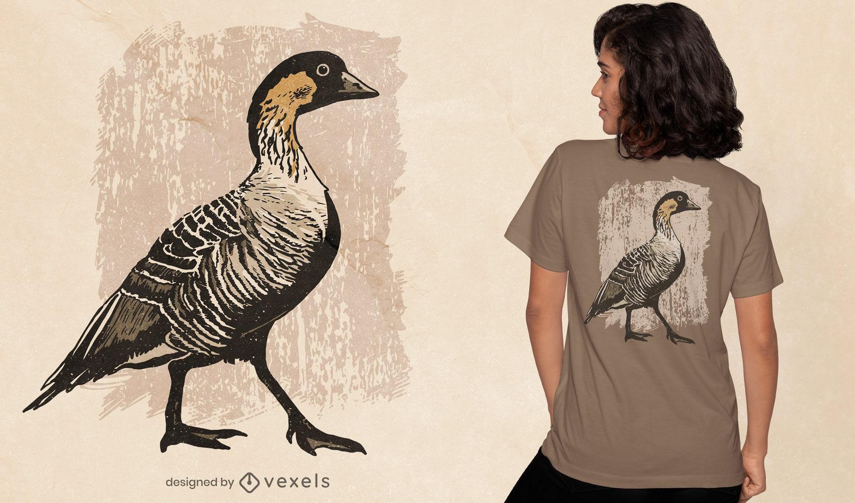 Diseño de camiseta animal pájaro ganso hawaiano