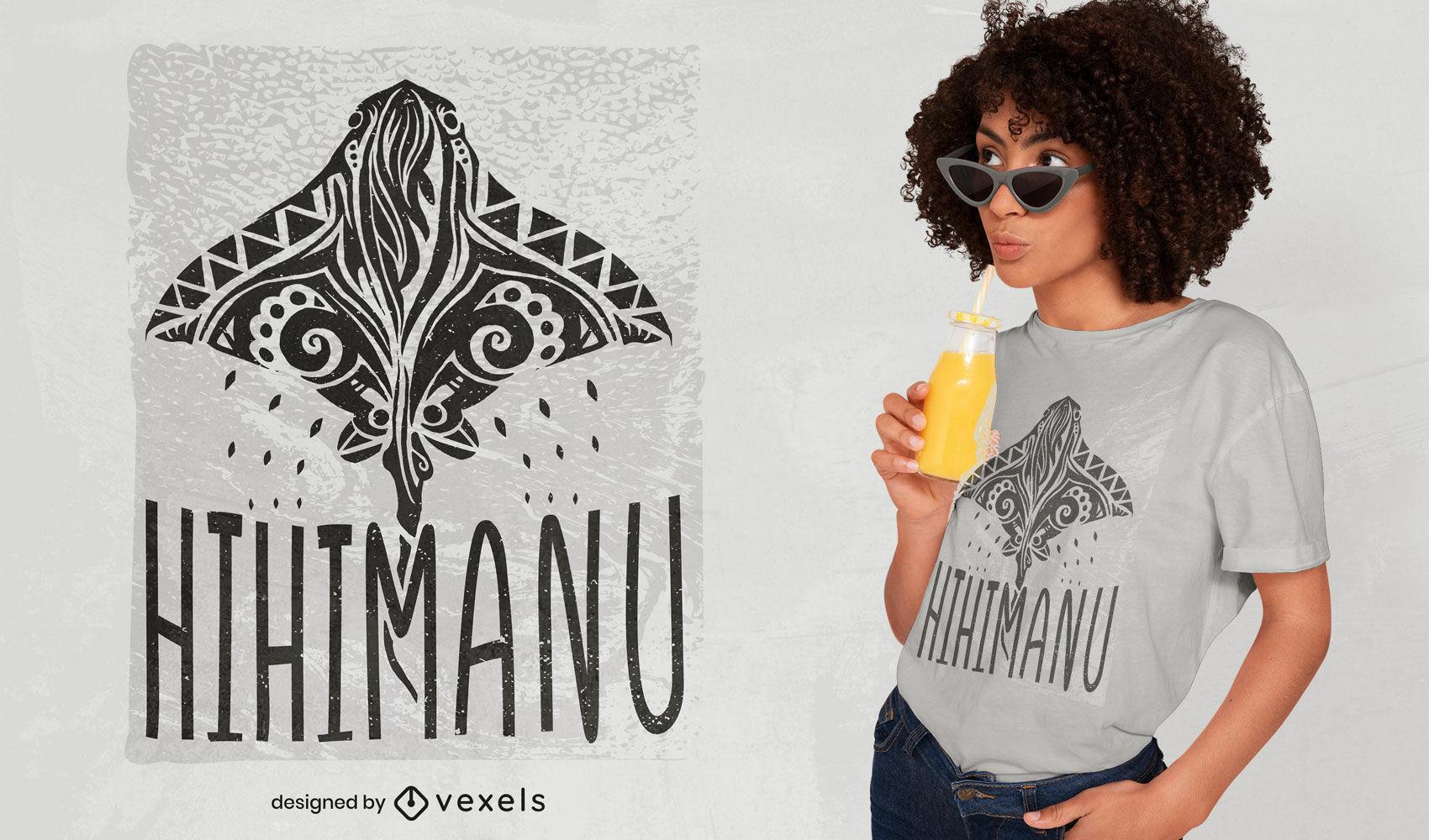 Diseño de camiseta de animal mantarraya hawaiana.