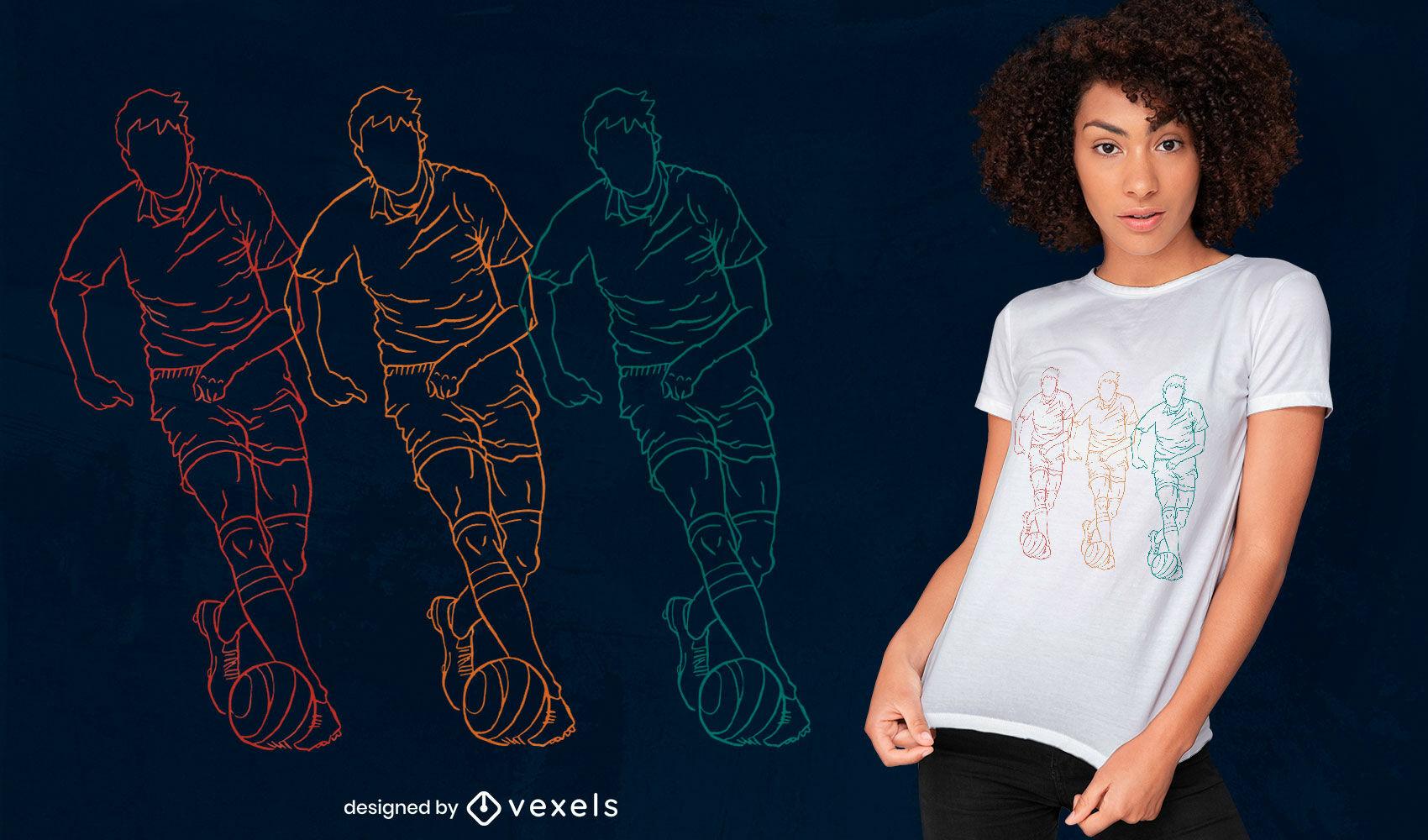 Design de t-shirt com arte de linha de esporte para jogador de futebol