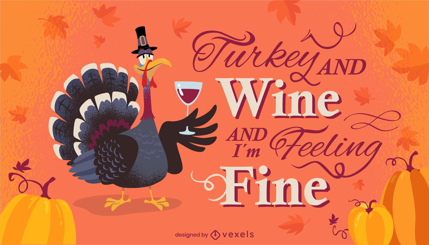 Thanksgiving cartoon turkey lettering design