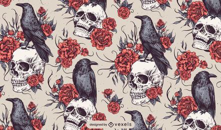 Skull raven roses goth pattern design