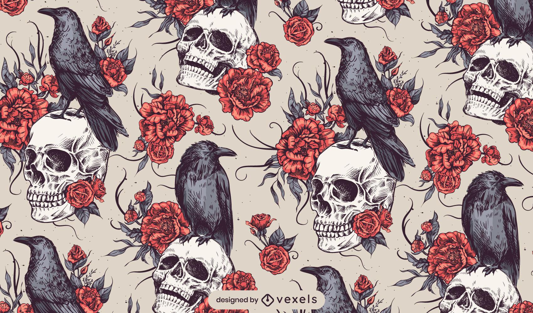 Desenho de padrão gótico de rosas de corvo em caveira
