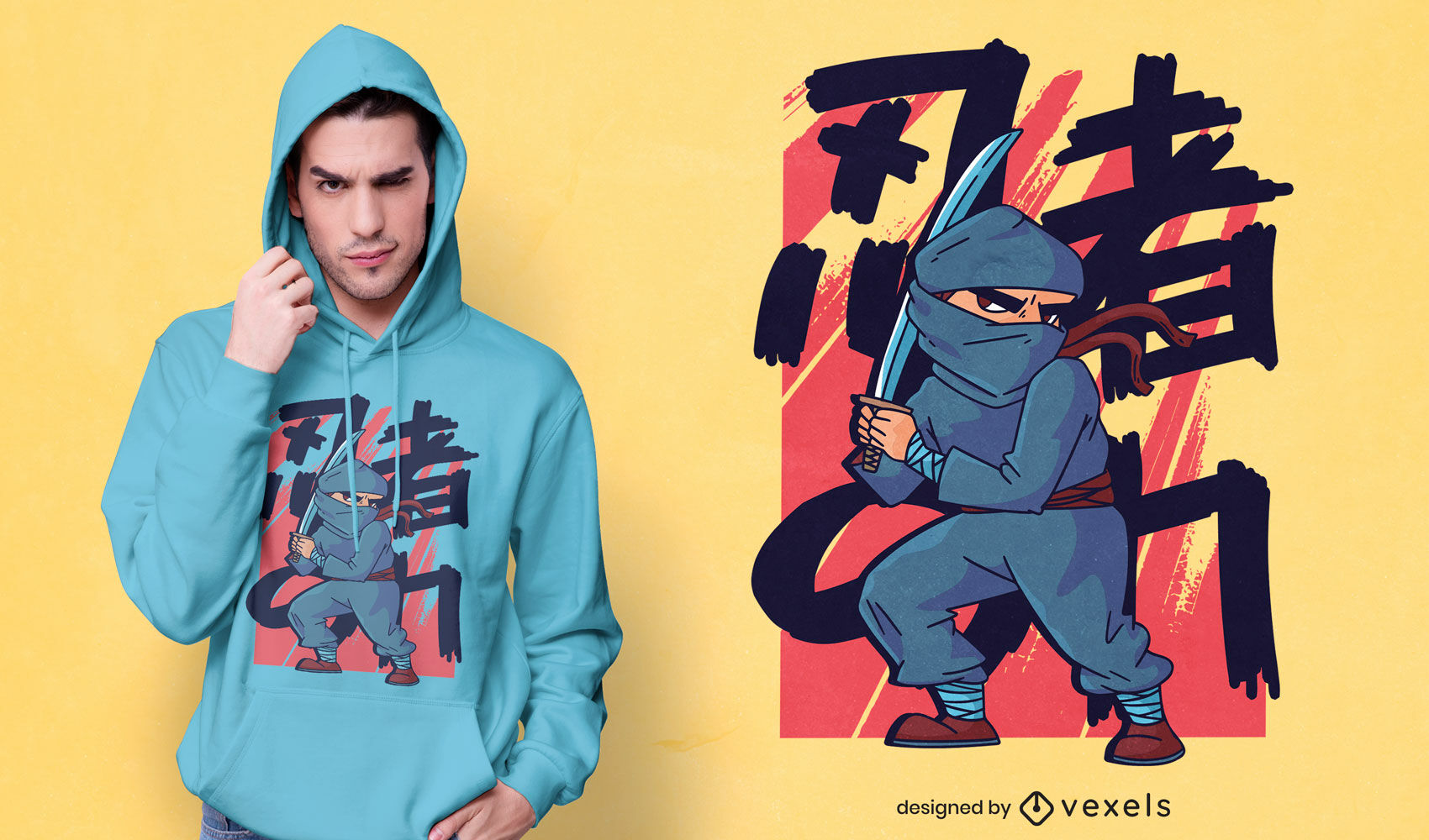 Ninja warrior boy cartoon t-shirt design