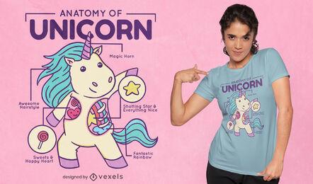 Diseño de camiseta de gráfico de anatomía de unicornio.