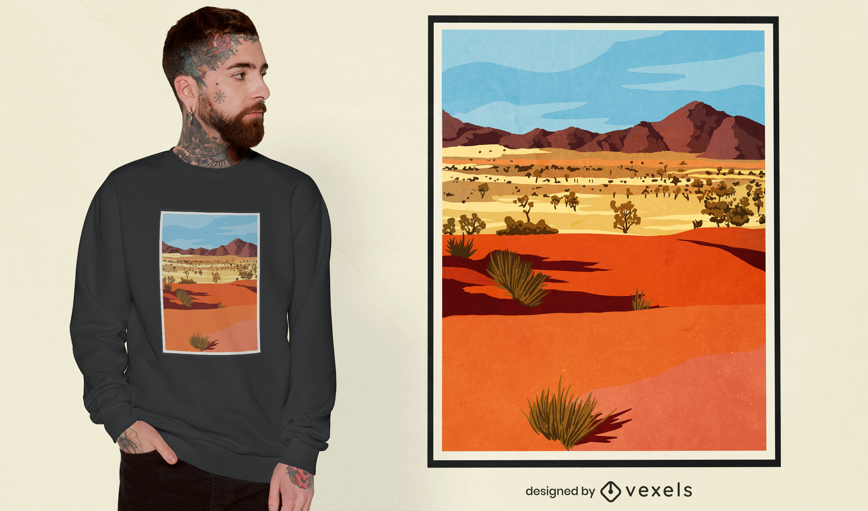 Realistic desert landscape t-shirt design