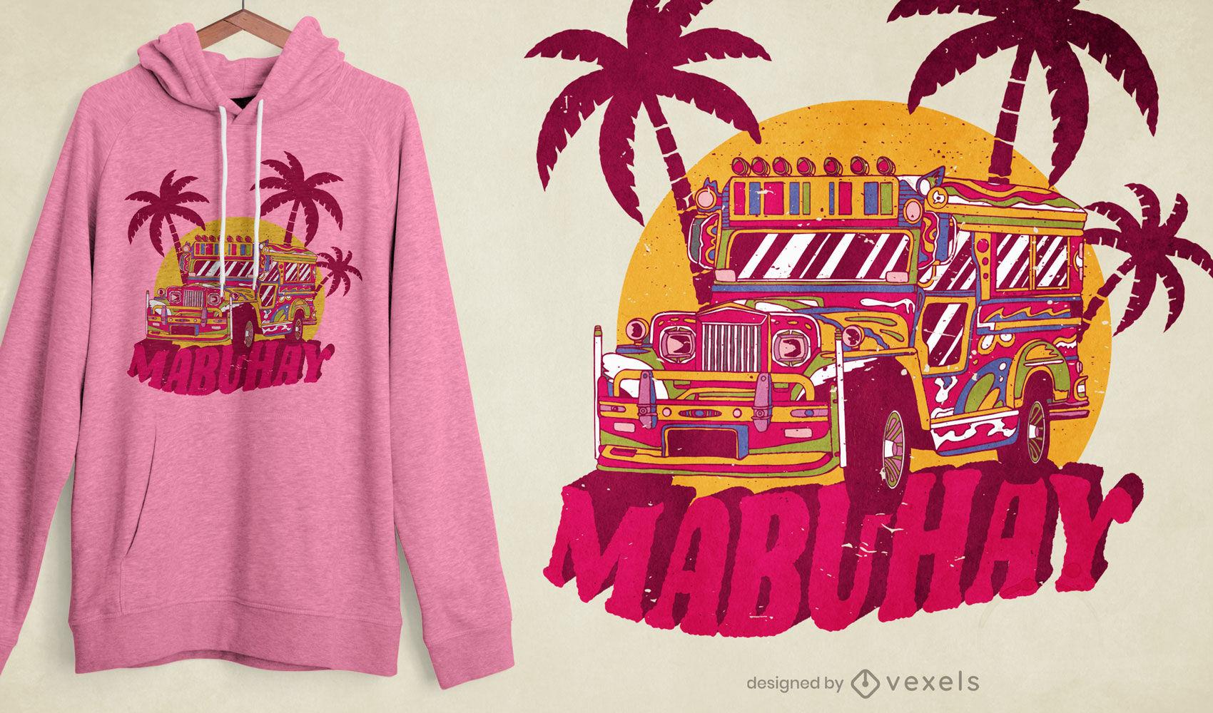Diseño de camiseta de jeepney de Filipinas