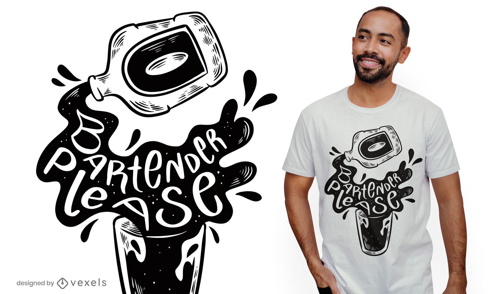 Cartoon alcohol bottle t-shirt design
