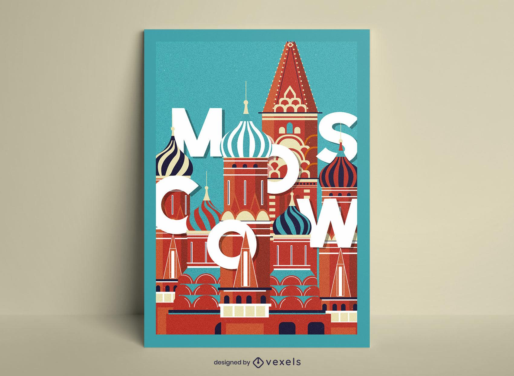 Pôster da catedral da cidade de Moscou