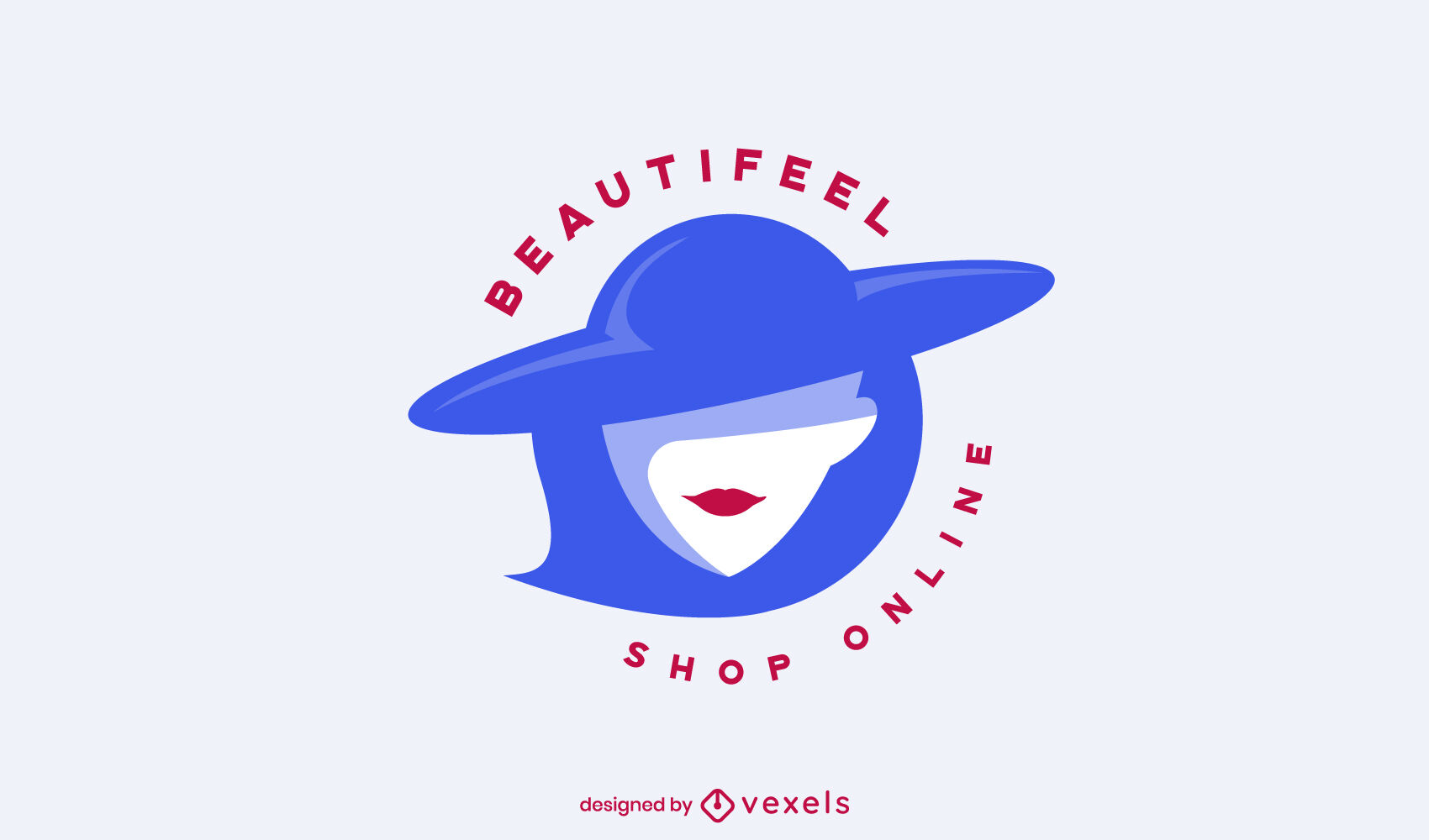 Elegant lady with hat logo template