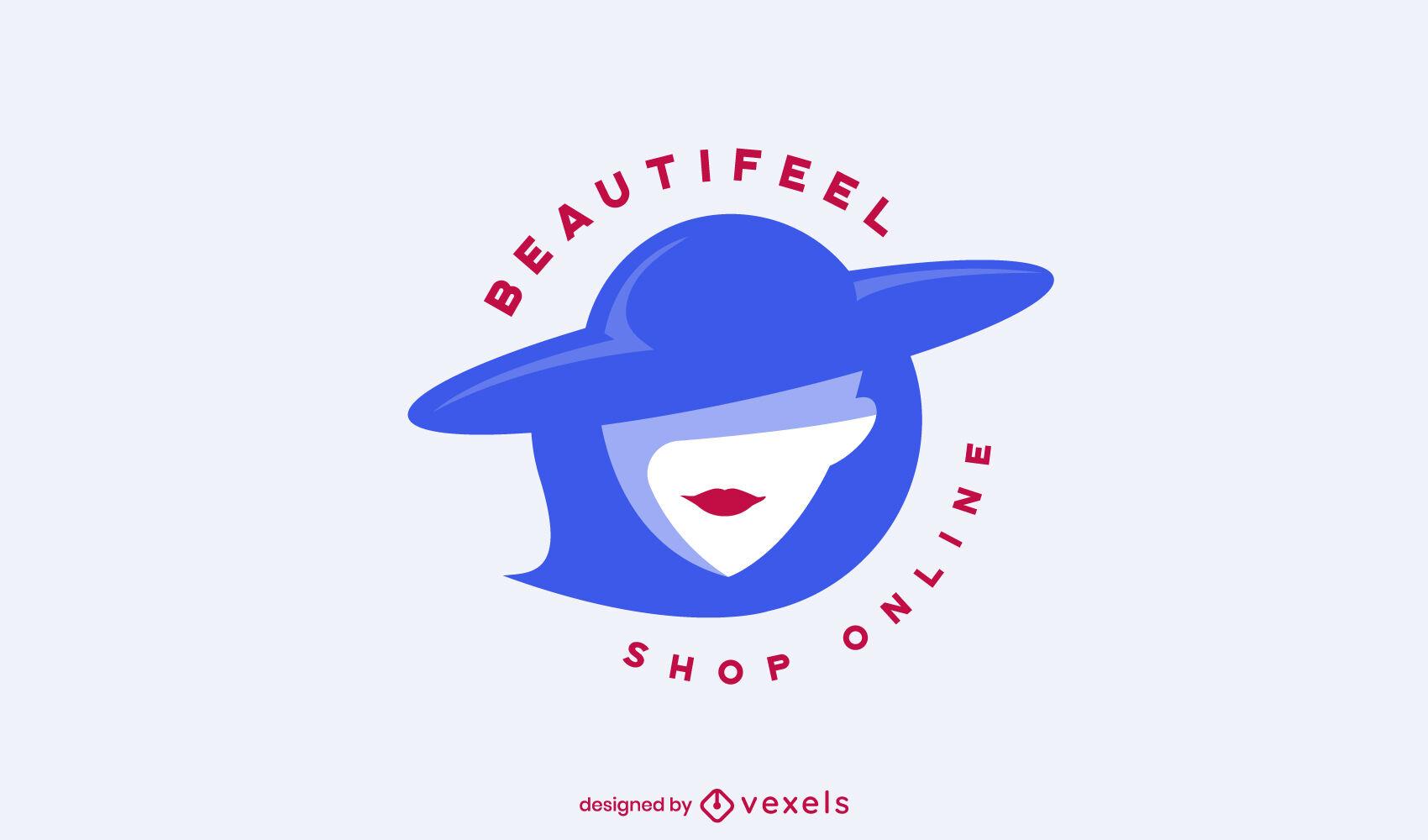 Señora elegante con plantilla de logotipo de sombrero