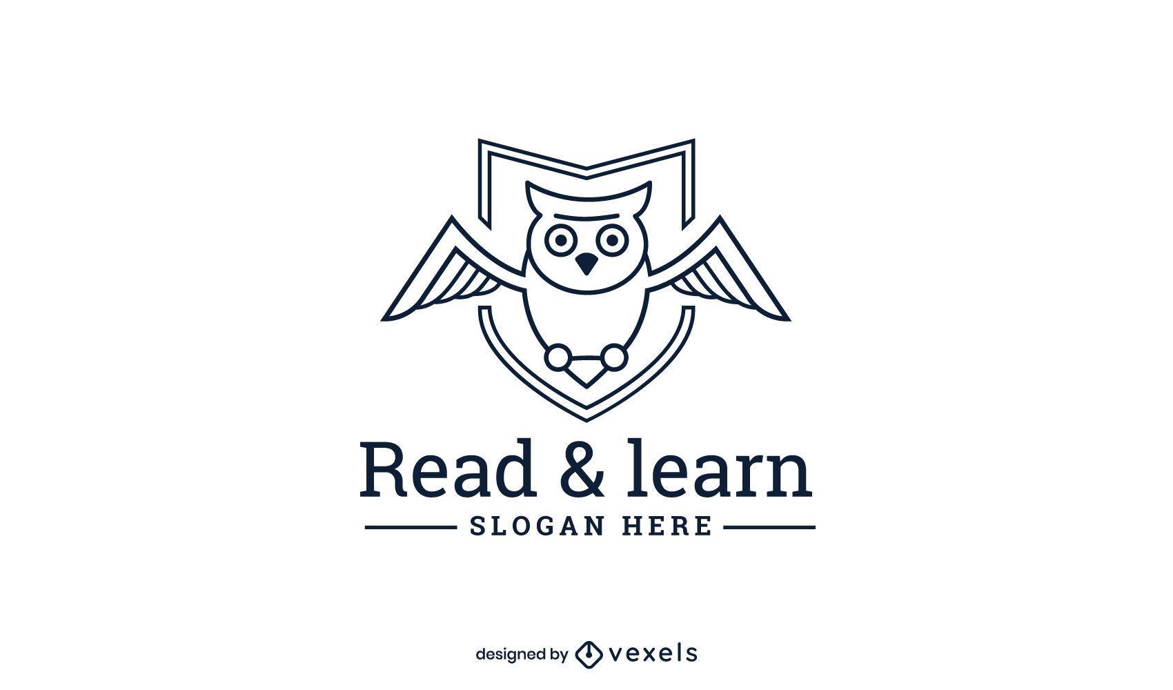 Logotipo de educación de búho de trazo