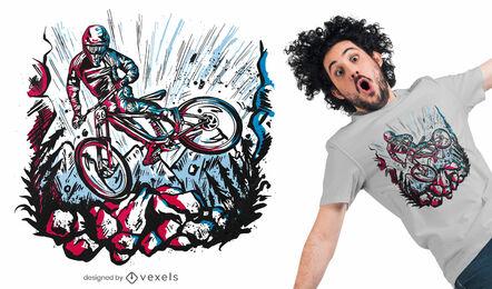 Diseño de camiseta de truco de motociclista cuesta abajo.