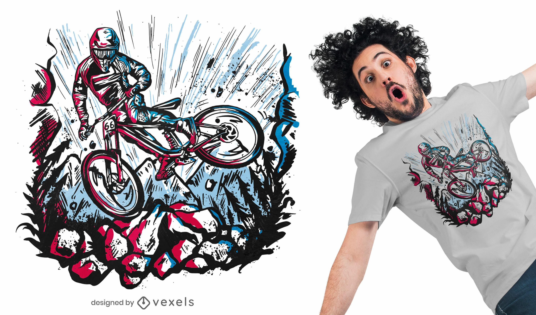 Design de camiseta para acrobacias de motociclista downhill
