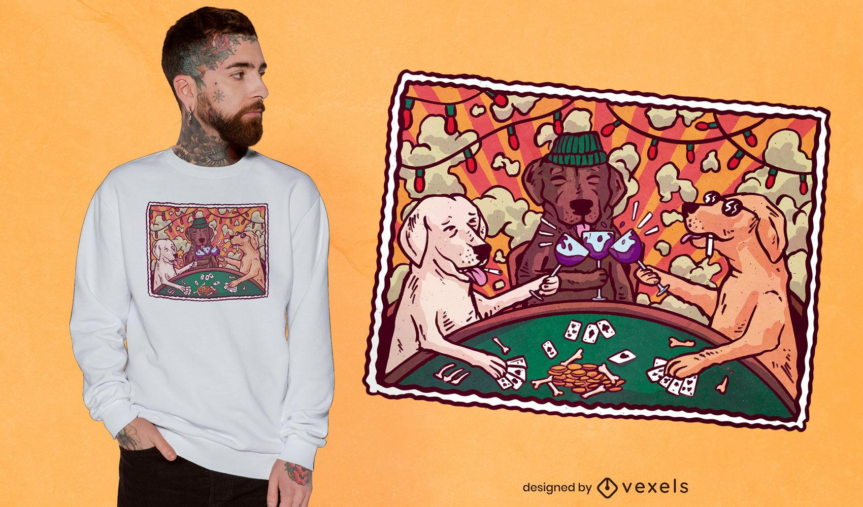 Diseño de camiseta de postal de fiesta de perro.