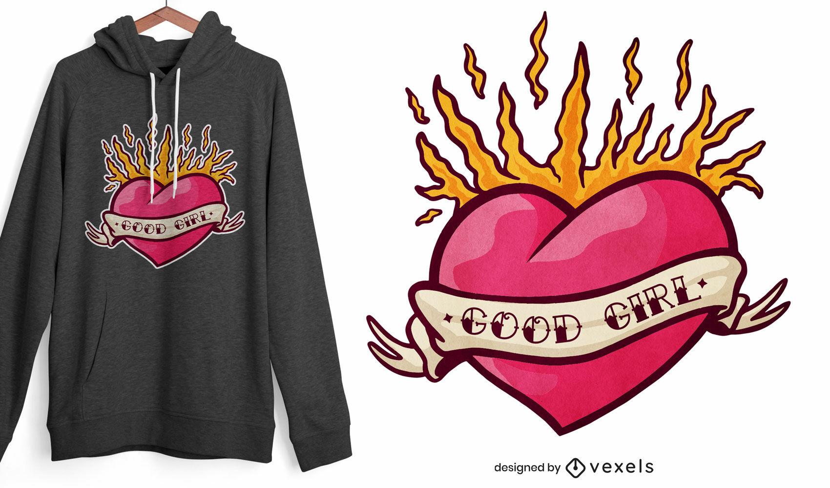 Heart on fire tattoo t-shirt design