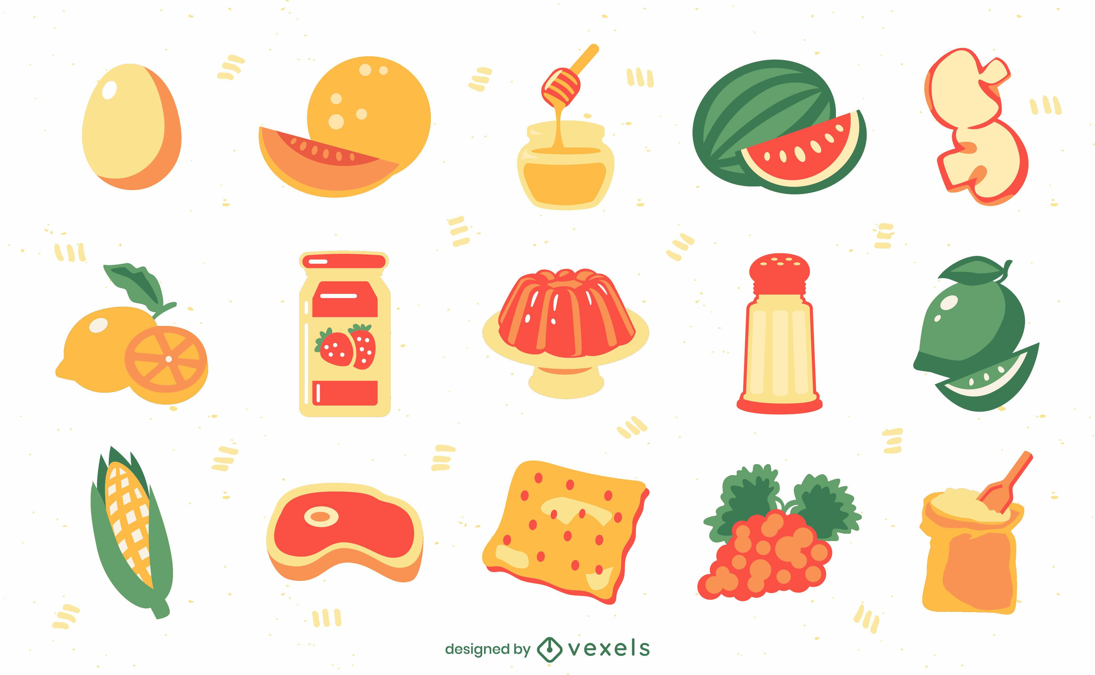 Conjunto semi plano de ingredientes y elementos alimentarios.