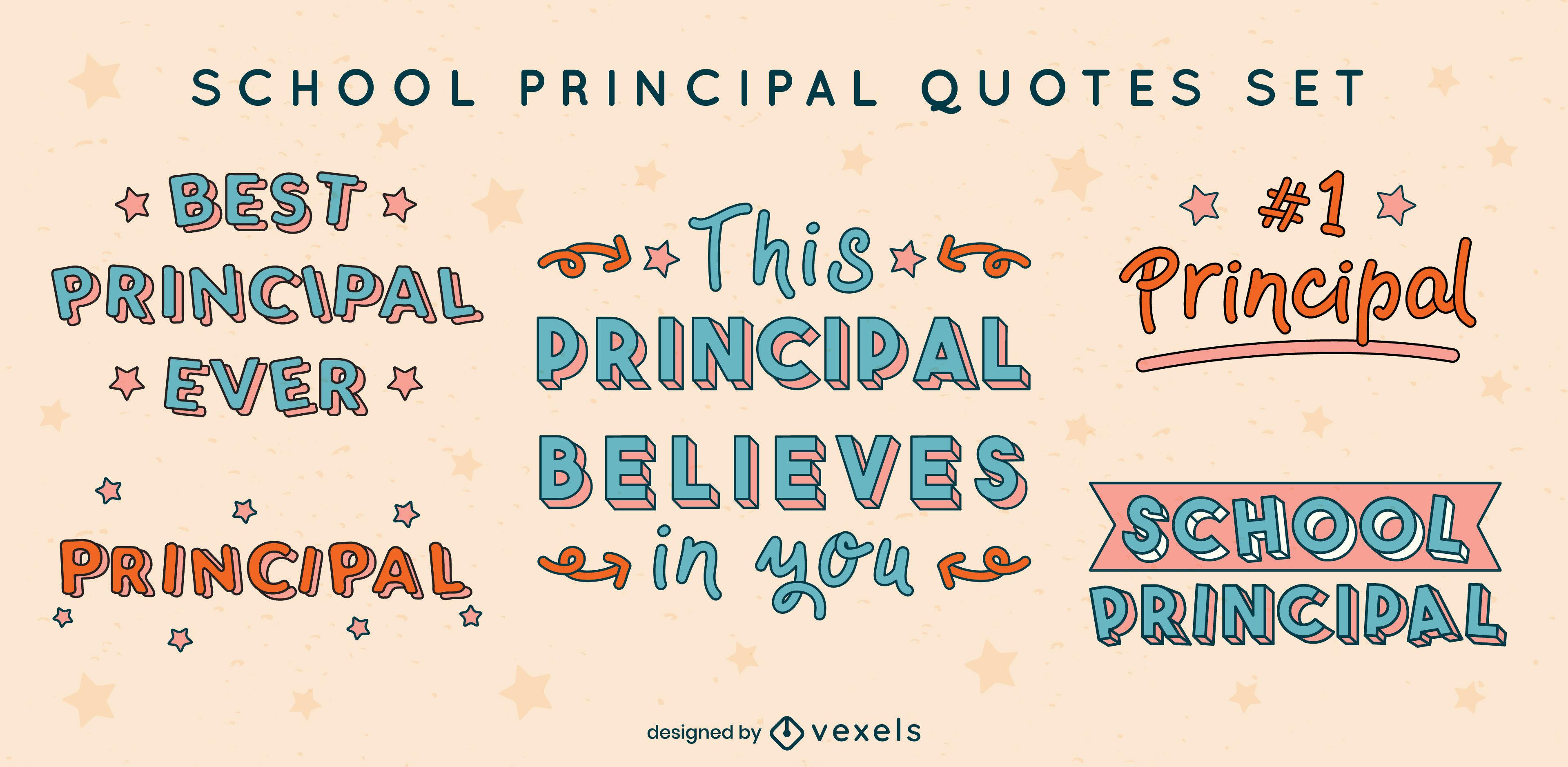 School principal set of color stroke badges