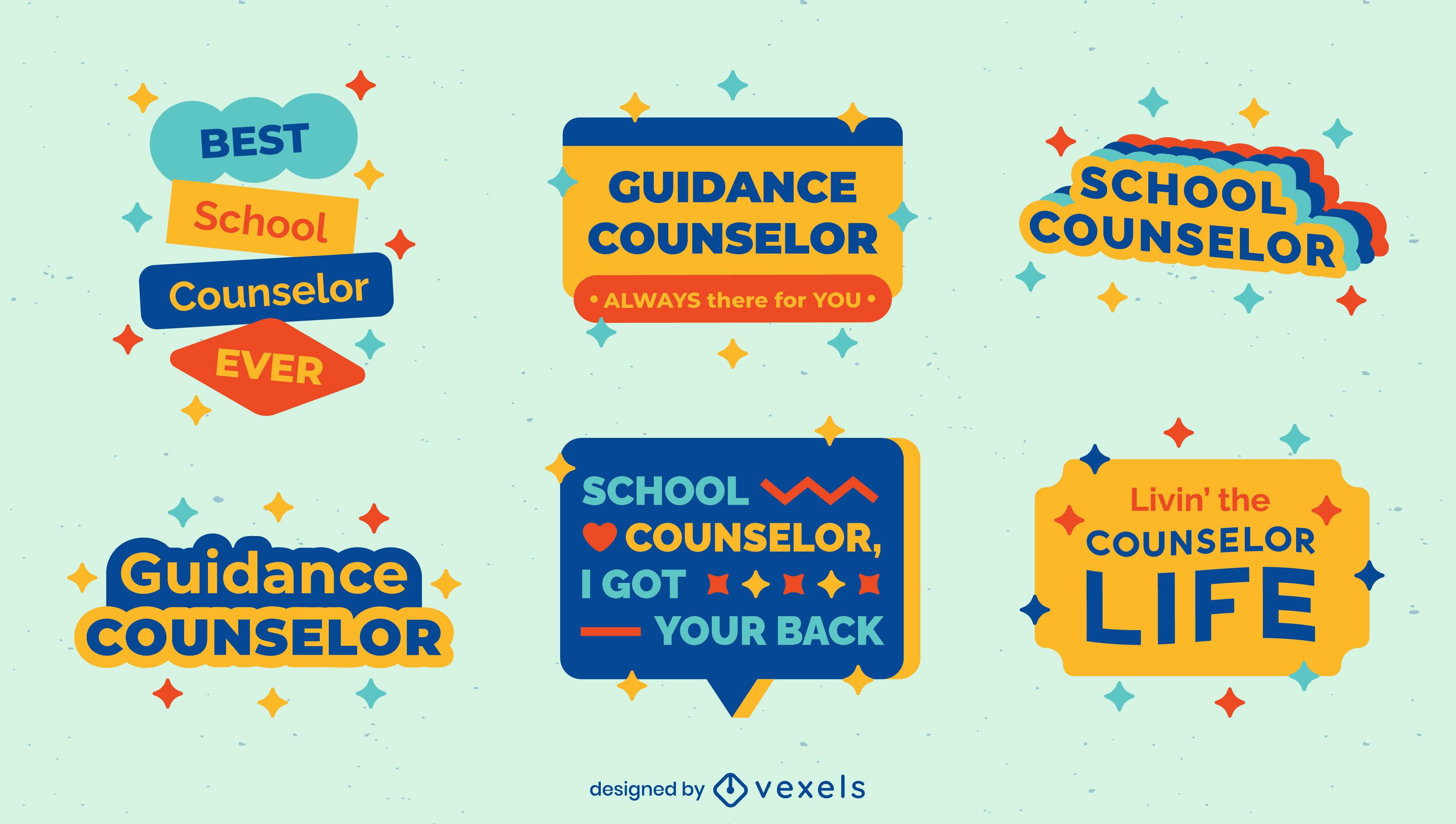 School counselor set of flat badges