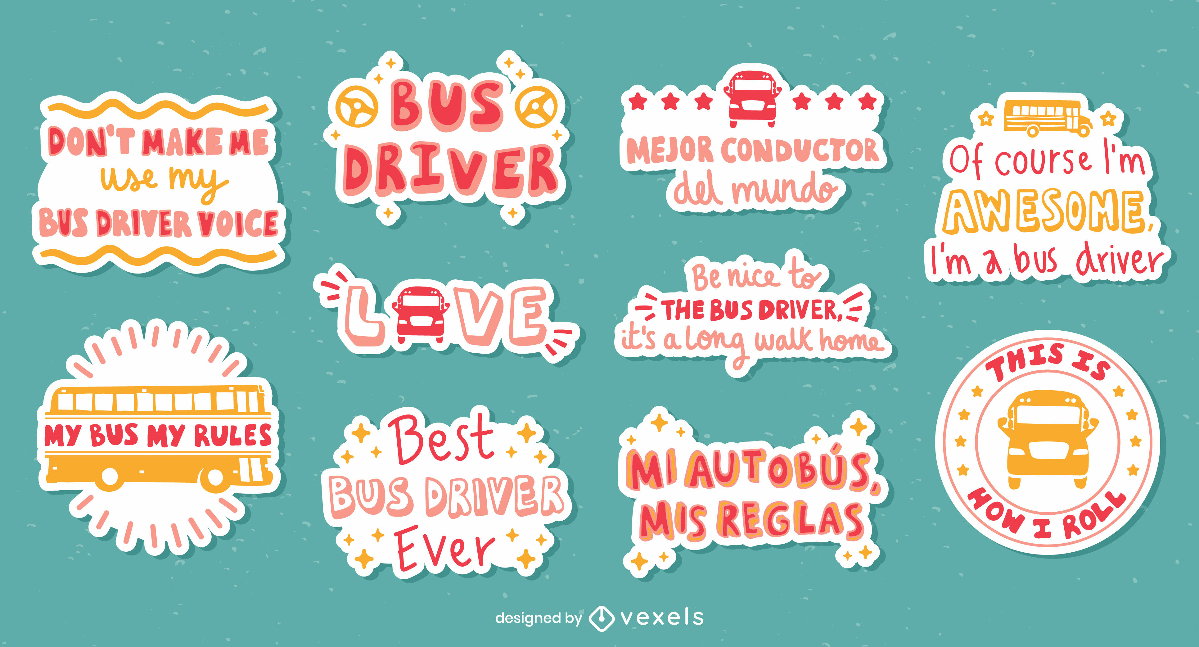 Bus driver set of lettering stickers