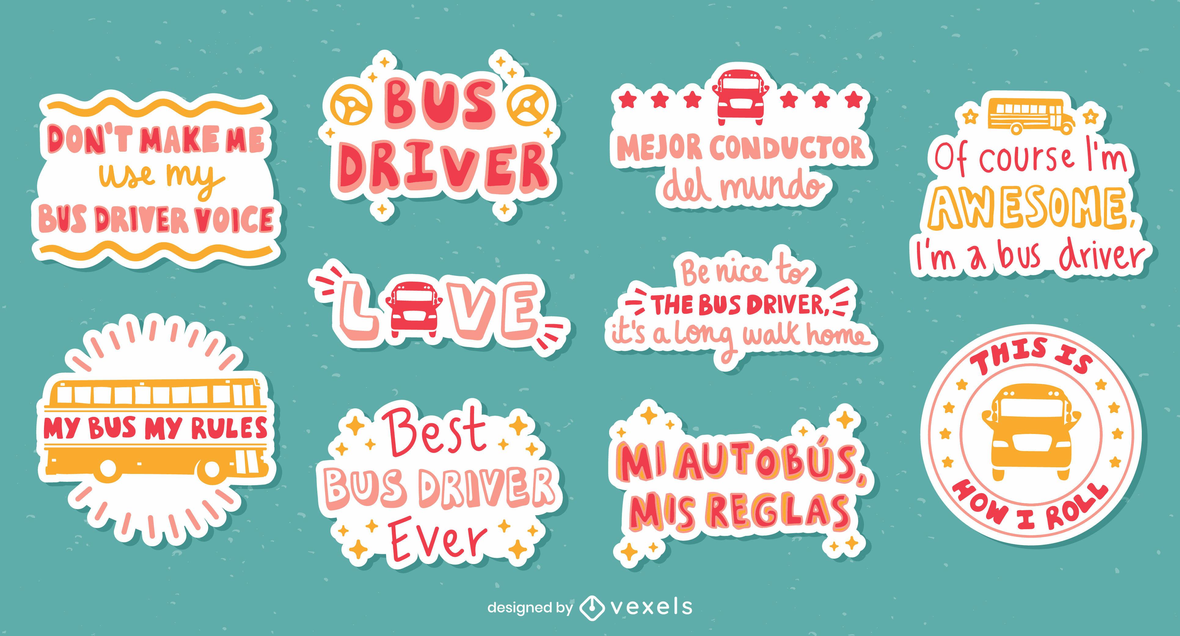 Conductor de autobús conjunto de pegatinas de letras