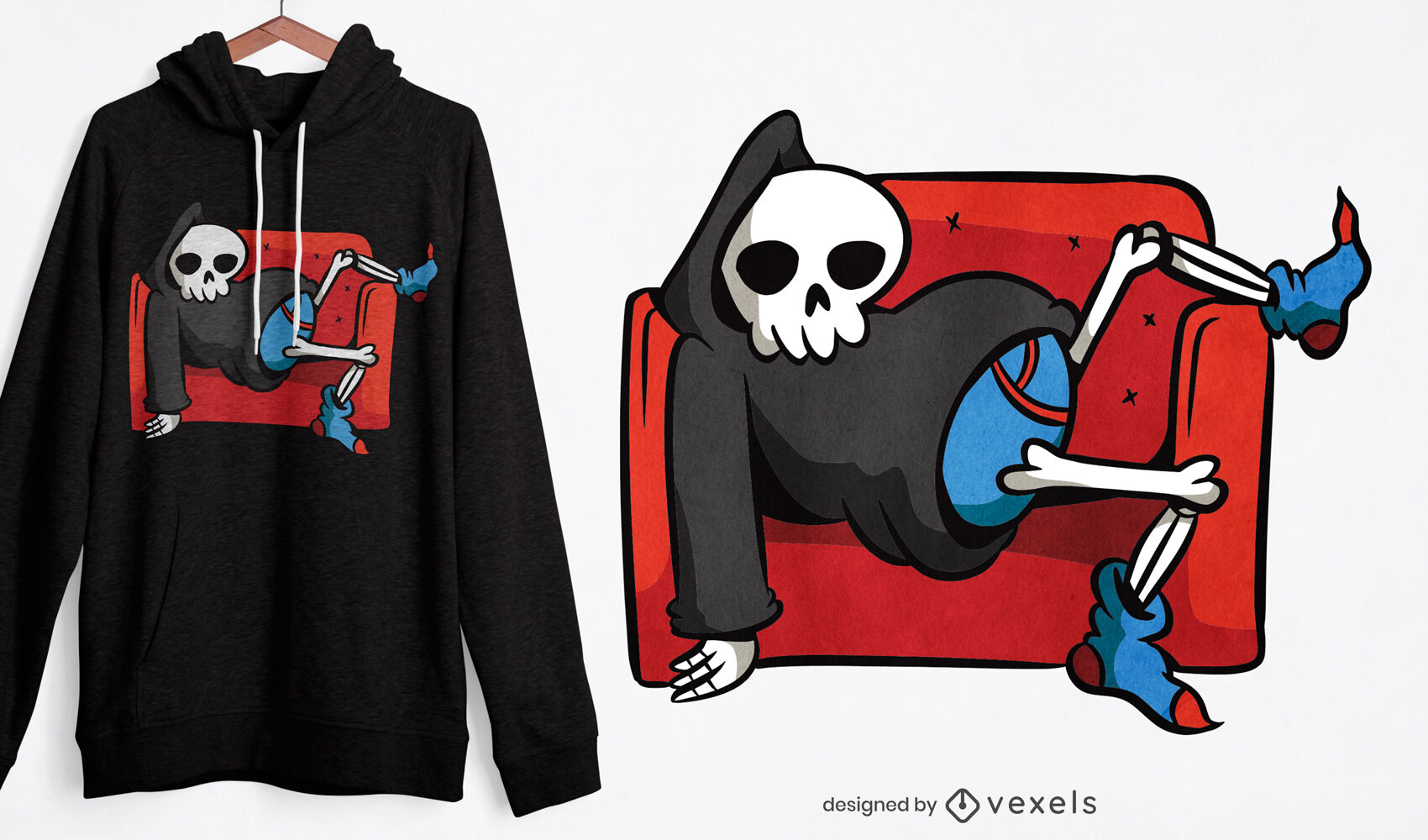 Lazy grim reaper chilling t-shirt design