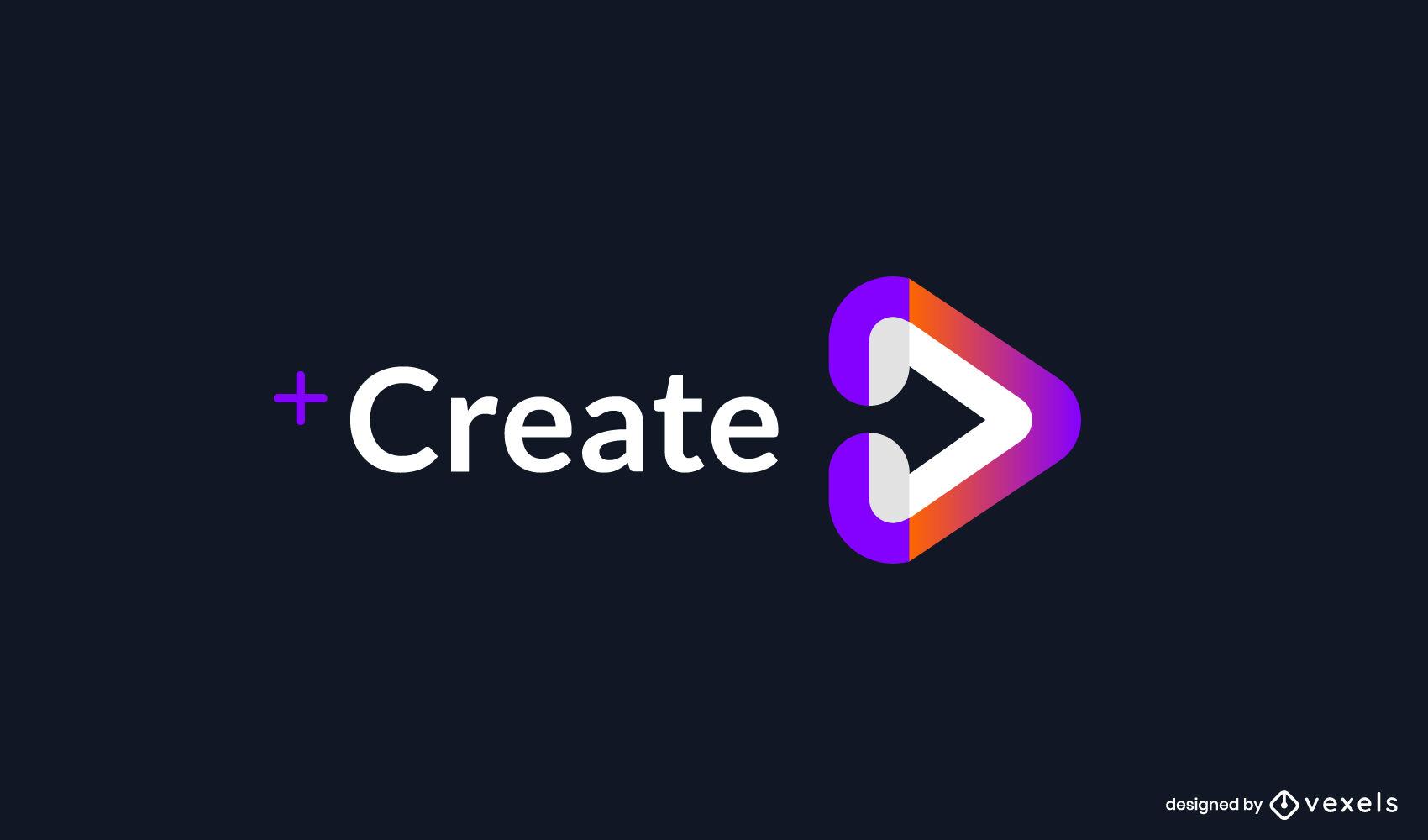 Streaming play symbol gradient logo