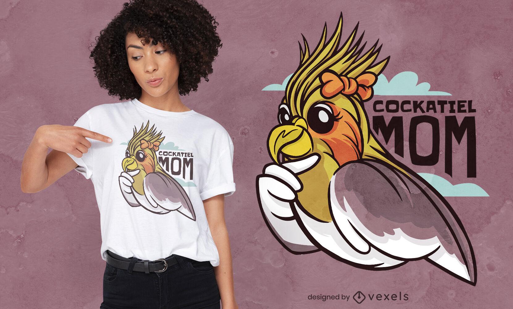 Diseño de camiseta de dibujos animados de mamá pájaro cockatiel