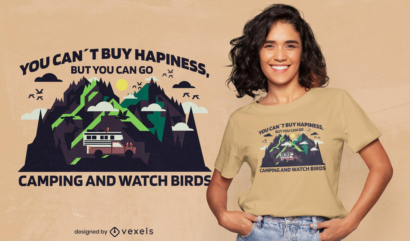 Diseño de camiseta de observación de aves y camping.