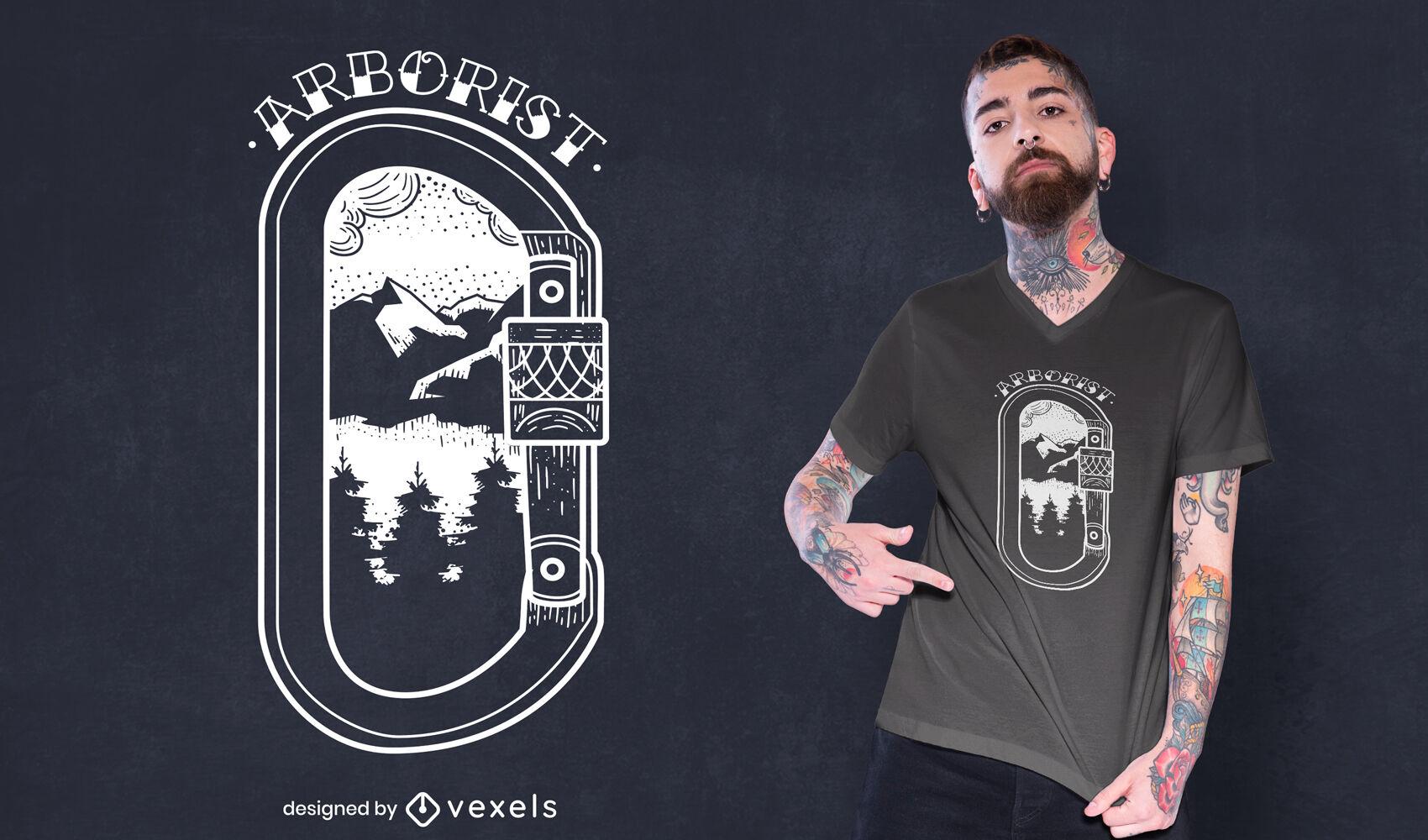 Design de camiseta para escalada em montanhas