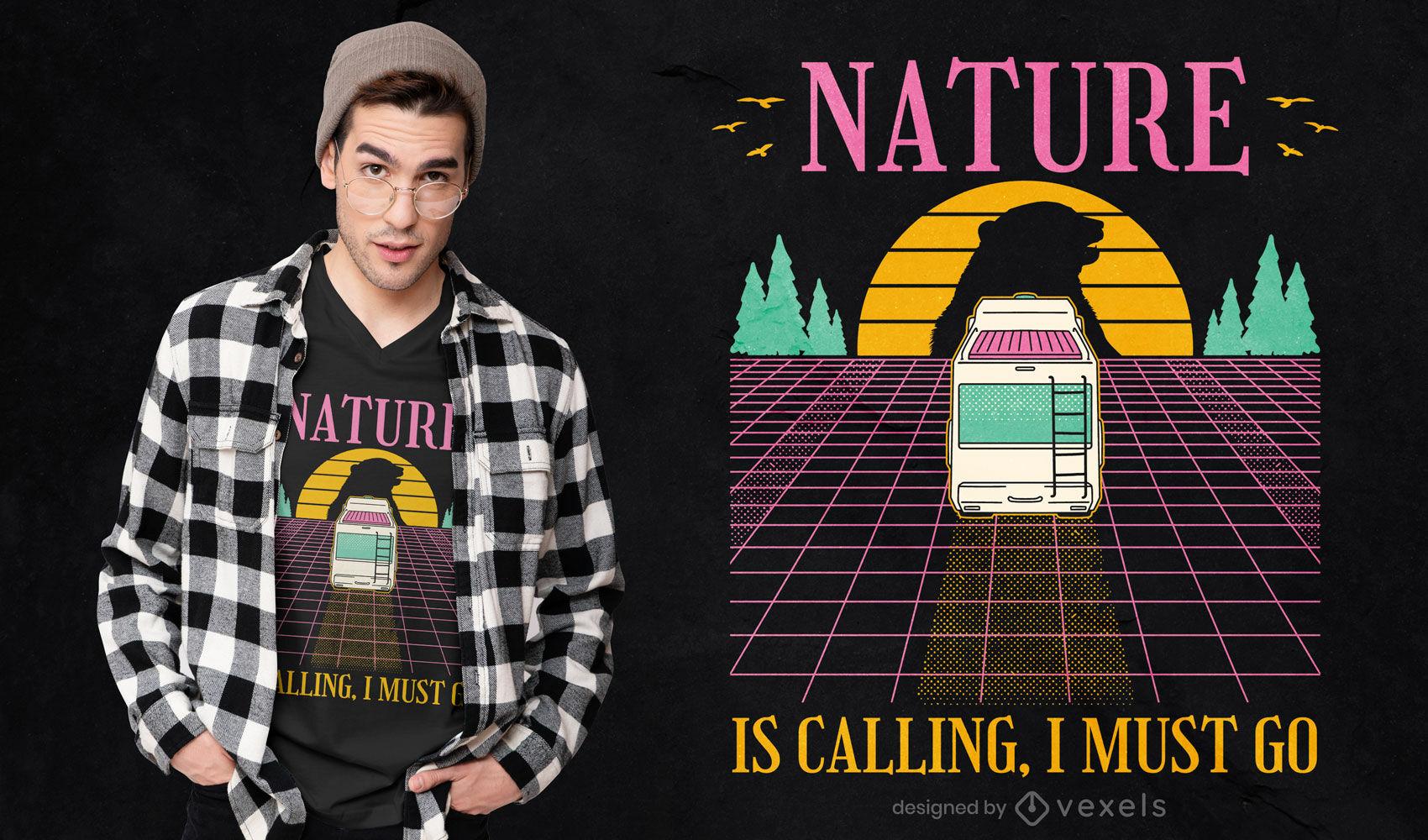 Diseño de camiseta camping van vaporwave.