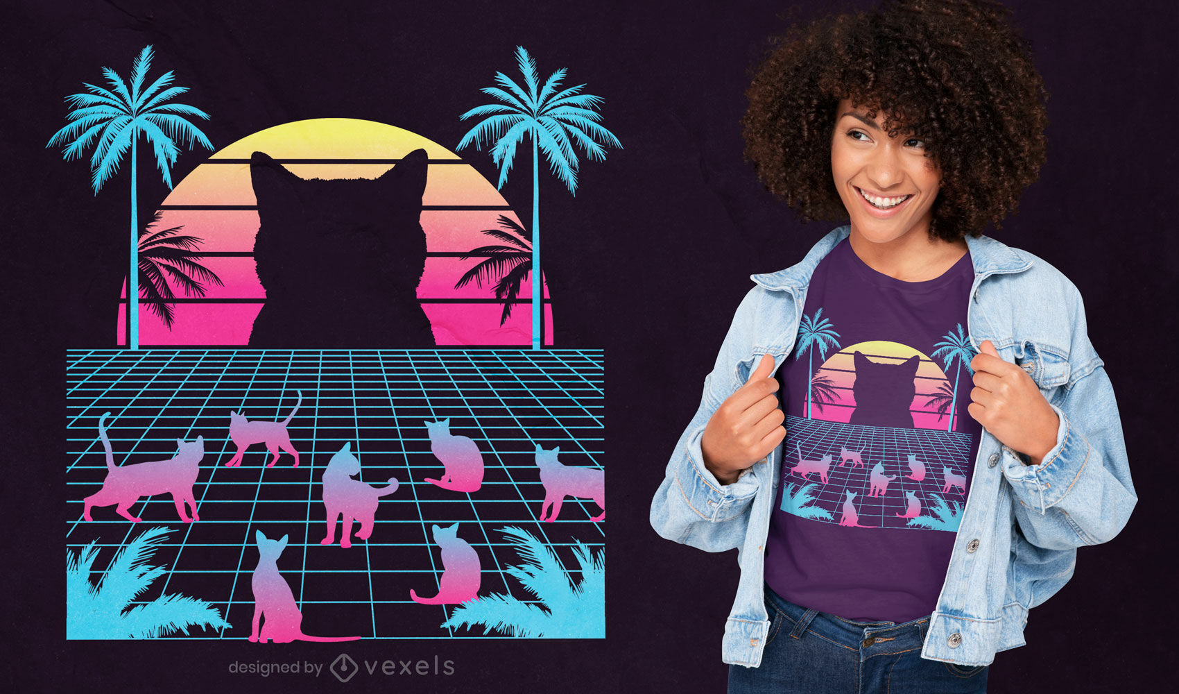 Katzen-Vaporwave-T-Shirt-Design