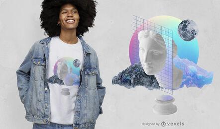 Vaporwave statue psd t-shirt design