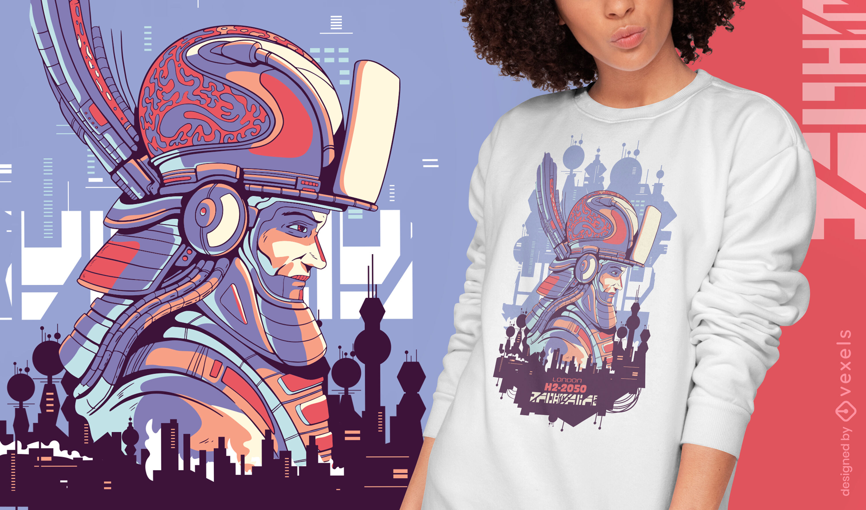 Robot soldier sci-fi cyber urban t-shirt design
