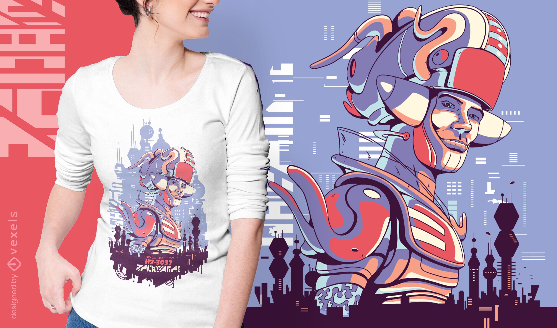 Robot man sci-fi cyber urban t-shirt design