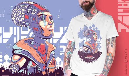 Futuristic man cyber urban t-shirt design