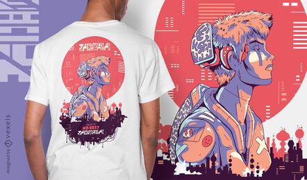 Punk boy sci-fi cyber urban t-shirt design