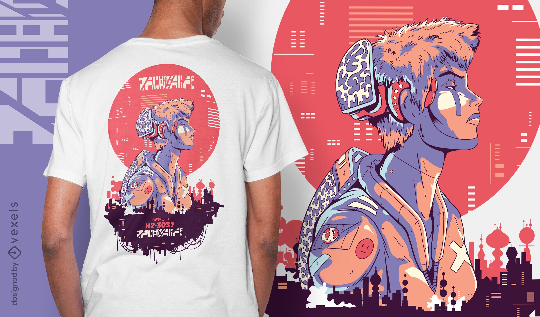 Diseño de camiseta urbana cibernética de ciencia ficción de chico punk