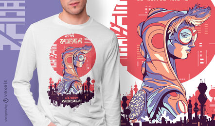 Punk girl sci-fi cyber urban t-shirt design