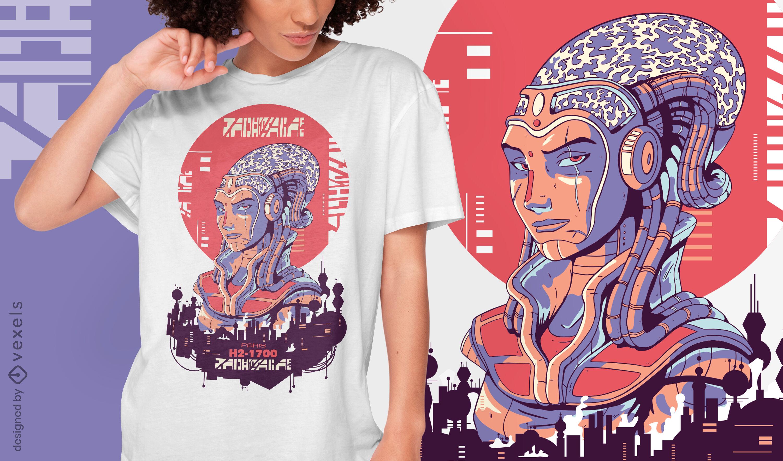 Diseño de camiseta urbana cibernética de mujer futurista.