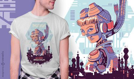 Futuristic girl cyber urban t-shirt design