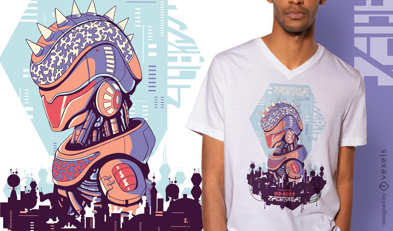 Cyber urban sci-fi robot t-shirt design