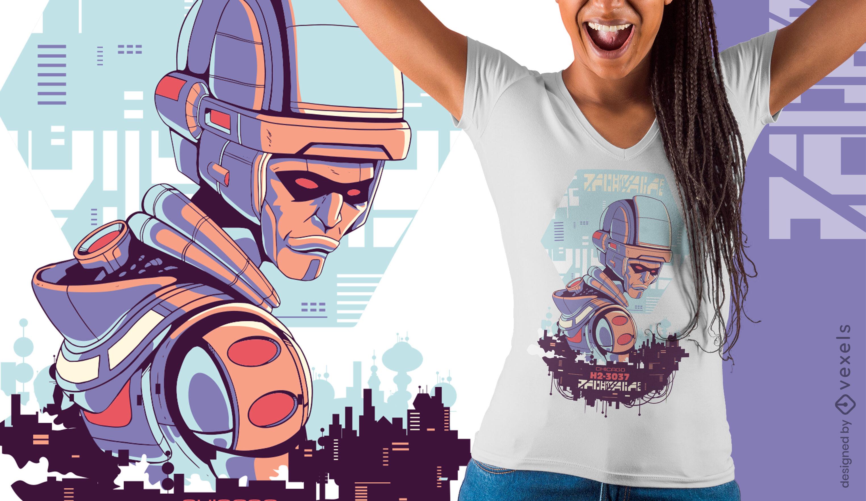 Diseño de camiseta cyber urban sci-fi evil robot